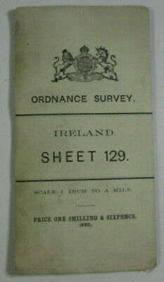 1907 Old OS Ordnance Survey Ireland One-Inch Second Edition Map 129 Baltinglass