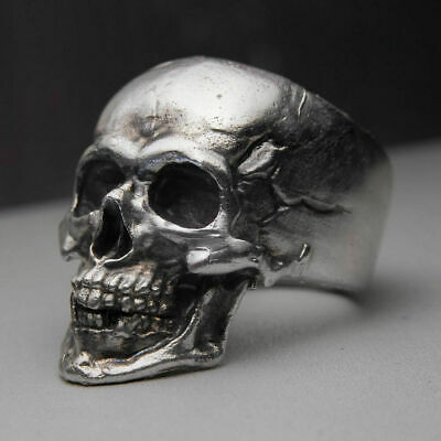 Solid 925 Sterling Silver Heavy Men's Gothic Biker Skull Punk Gorgeous Fine Ring