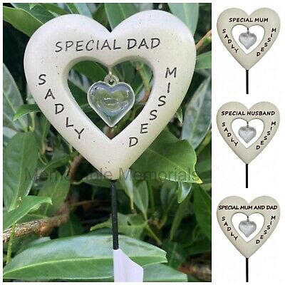 Memorial Diamante Heart Stick Spike Stake Tribute Graveside Remembrance Garden