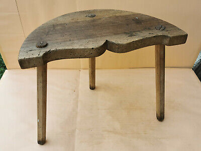 OLD ANTIQUE PRIMITIVE WOODEN 3 LEGGED STOOL CHAIR TRIPOD FURNITURE 19th