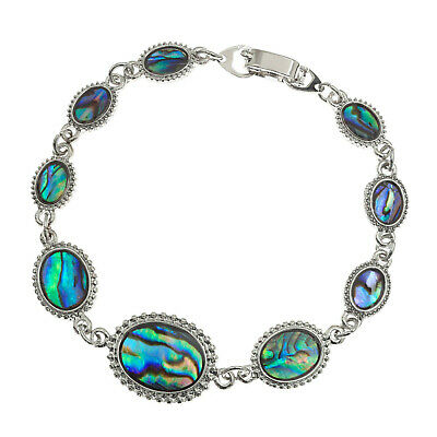 Cameo Bracelet Paua Abalone Shell Womens Silver Fashion Jewellery Gift Boxed