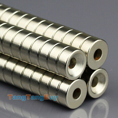 100X N50 Round Countersunk Ring Magnet 12mm x 5mm Hole 4mm Rare Earth Neodymium