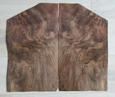 "Walnut burl wood veneer, 2 sheets, ~ 17.7 x 9.8"" (45 x 25 cm), 0.55 mm (~1/45″)"