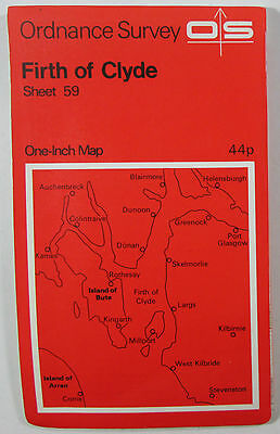 1965 Old OS Ordnance Survey One-inch Seventh Series Map 59 Firth of Clyde