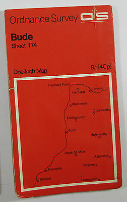 1966 old vintage OS Ordnance Survey one-inch map sheet 174 Bude