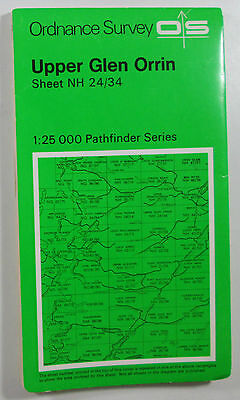 1974 old OS Ordnance Survey Second Series 1:25000 Map NH 24/34 Upper Glen Orrin
