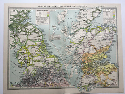 Map Of England Great Britain Railway Time 1930 Antique Large George Philip