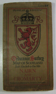 1929 OS Ordnance Survey One-Inch Popular Ed Scotland Map 28 Nairn & Cromarty dis