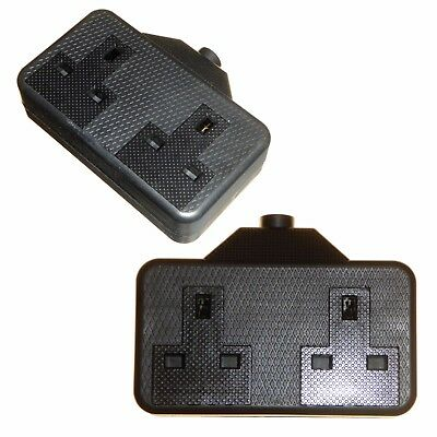 High Impact Rubberized 2 Gang Black Extension Trailing Double Socket - Pack of 2