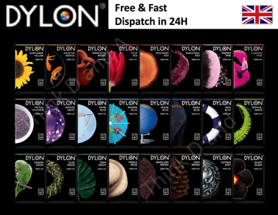 50g PACK DYLON FABRIC CLOTHES HAND WASH DYE 25 COLORS TO CHOOSE FREE DELIVERY