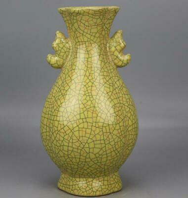chinese old handmade Yellow glaze Opening porcelain Two ears vase 04238