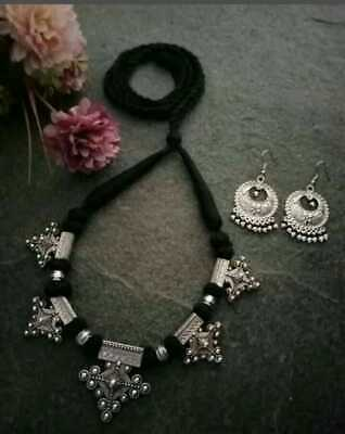 Oxidized Necklace Free Shipping Indian Handmade choker with earrings Antique Silver Oxidized choker set
