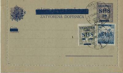 Croatia/SHS 1919,Postal Stationery Letter Card (1.2) with added postage - Osijek