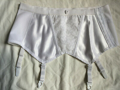 VINTAGE 1960s DAMART White Girdle Suspender Shapewear Waist 28""