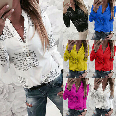 Women Button Floral Loose Tee Shirts Tops Ladies Long Sleeve Casual Blouse Sale