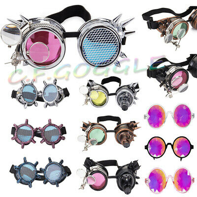 New Unisex Round Steampunk Goggles Cosplay Halloween Festival Gothic with Light