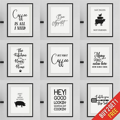 Kitchen Prints Framed Wall Art for Kitchen Funny Quote Prints Black and White