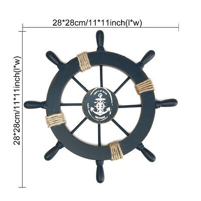 Mediterranean Nautical Wooden Boat Ship Wheel Helm Home Wall Party Decor