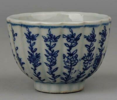 chinese old Blue &white porcelain hand-painted flowers pattern Kung fu cup 04120