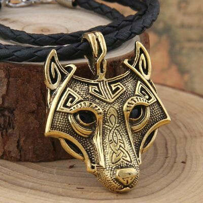 Norse Vikings Pendant Necklace Wolf Head Animal Jewelry Pagan Style Nordic Look