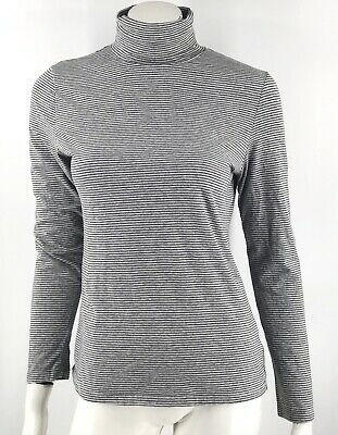 Sonoma Turtleneck Top Medium Gray Striped Long Sleeve Stretch Shirt Womens