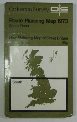 1973 Old OS Ordnance Survey One Inch to Ten Miles Route Planning Map South Sheet