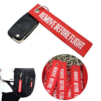 Fabric Keyring Remove Before Flight Keychain Pilot Crew Bag Tag Luggage Key Ring