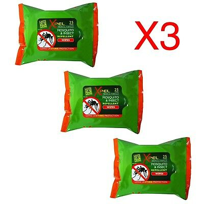 Mosquito Insect Repellent Wipes Xpel Tropical Formula DEET FREE Lasting 3 x 25