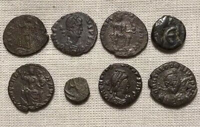 Lot of (8) 357-527 A.D. Rome / Byzantine Coins - Constans / Theodosius & More