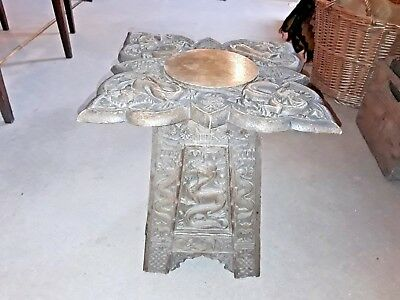 Antique Chinese Carved Dragon Detail table, Campaign / Folding table 19th C