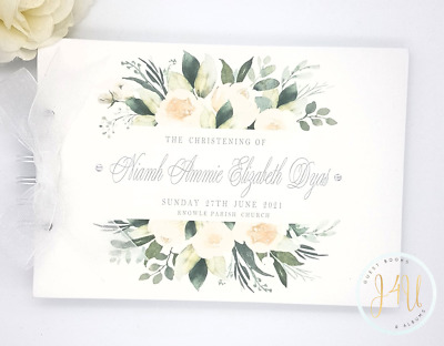 Personalised Floral Wedding Guest Book  Christening Naming Day / Scrapbook Album