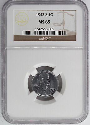 1943-S Steel Wartime Lincoln Cent Ngc Ms65