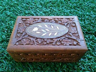 Vintage Wooden Hand Carved in India Sheesham Trinket Jewelry Treasure Hinged Box
