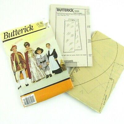 Butterick Costume Sewing Pattern 6305 Pilgrim Queen Halloween Child Size 2-14