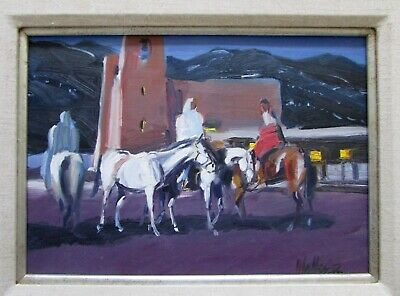 Signed Walker Acoma Pueblo New Mexico Night Horses Oil Painting