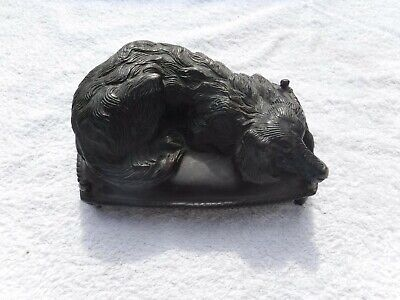 RARE Antique Bronze Hunting Dog On Cushion Bed Sculpture Irish Setter Figurine