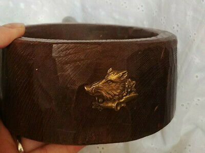 Primitive HANDMADE WOODEN CUP BOWL with HANDLE and BRASS BOAR ITALY