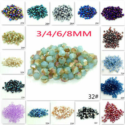 Wholesale 3mm/4mm/6mm/8mm Bicone Faceted Crystal Glass Loose Spacer Beads Lot do
