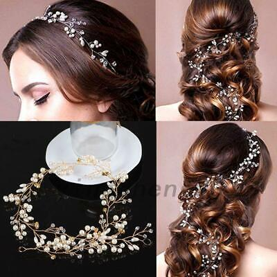 1 Prom Pearls Wedding Hair Vine Crystal Bridal Accessories Diamante Headpiece AU