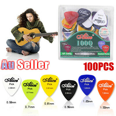 100PCS Electric Acoustic 6 Thickness Plectrum Picks with Case Various Guitar