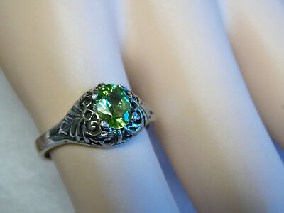 Natural Green Peridot Antique 925 Sterling Silver Ring Size 7 Old Style Usa Made