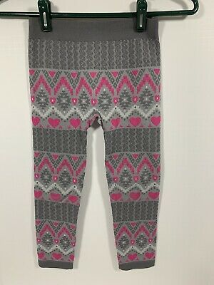 Faded Glory Girls Leggings M 7-10 Gray Pink Aztec Design Hearts