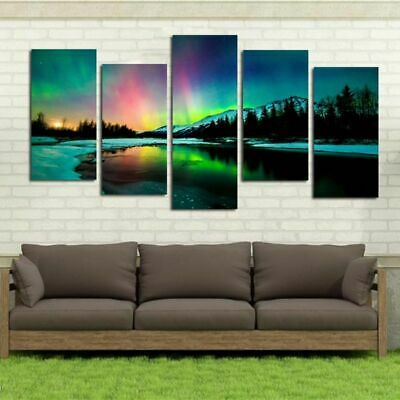 Lake 5pcs Modern Art Oil Painting Print Canvas Picture Home Wall Decor Unframed