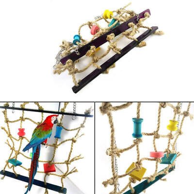 Pet Parrot Bird Climbing Net Cage Toy Swing Ladder Macaw Play Hanging R OBI