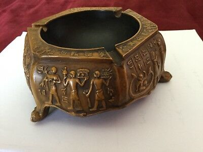 Unique Egyptian Pharaonic Decorative Wood Antique Bowl Hand Carved In Egypt!!WOW