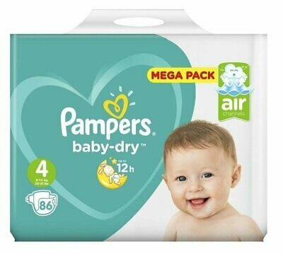 PAMPERS baby-dry Taille 4 Maxi de 9 à 14 kg Mega Pack 86 couches NEUF FRANCE