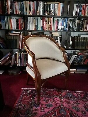 Antique Chinese carved wood armchair with velvet upholstery; 2047