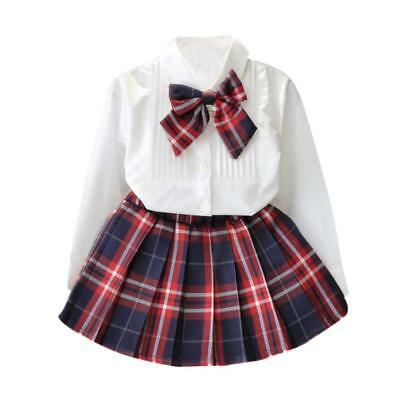 New Long Sleeve White Top Girls Outfit Plaid Skirt Bow Tartan Party Kids Clothes