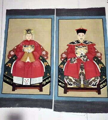 A Pair Of Antique Chinese Family Tree Ancestor Painting