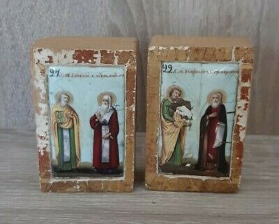 Antique Russian Orthodox Icons Finift 19th century.